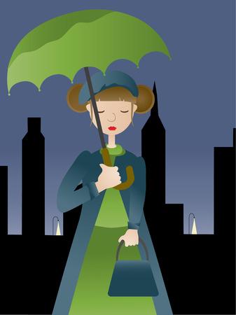 Girl holding umbrella at night VECTOR