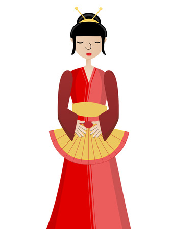awaiting: Simplistic Geisha holding fan Isloated VECTOR Illustration
