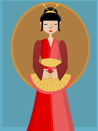 Simplistic Geisha holding fan against plain background VECTOR Çizim