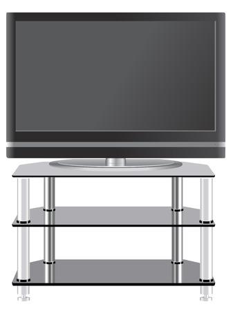 現代 tv の立場上のフラット パネル テレビ  イラスト・ベクター素材