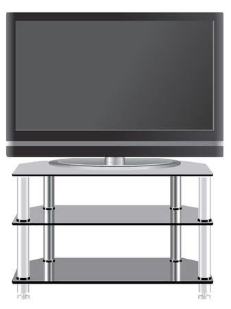 Flat Panel television on modern tv stand Vector
