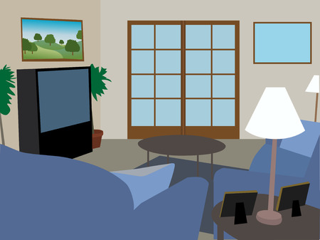 living room sofa: Modern fully furnished living room Illustration