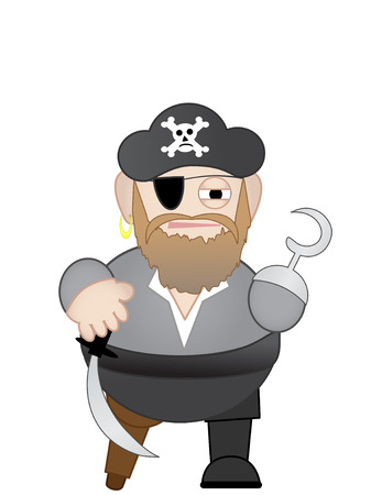 privateer: FatChubby short Pirate with sword and hook hand