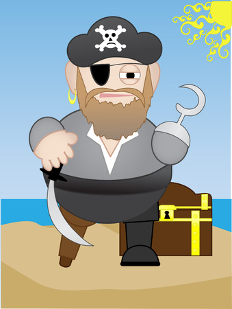 Fat Chubby short Pirate on beach with treasure chest