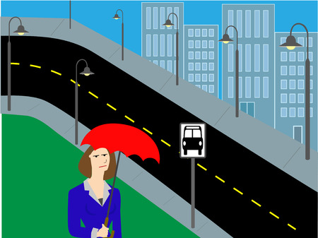 awaiting: Holding an umbrellas on a cloudy miserable day a female frowns while awaiting the bus in a city setting