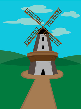 Windmill surrounded by green valleys on a sunny day Vectores