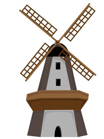 Isoliert mit Tür und Fenster aus Holz Windmill Vektorgrafik