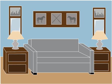 ランプ付きのリビング ルーム  イラスト・ベクター素材
