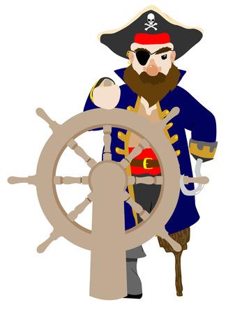 capitano: Stilistici Maschio Pirata presa ruota in legno