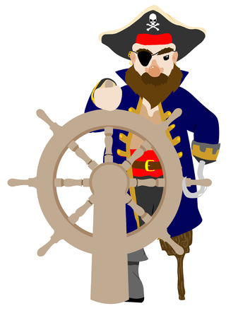 plunderer: Stylistic Male Pirate gripping wooden wheel