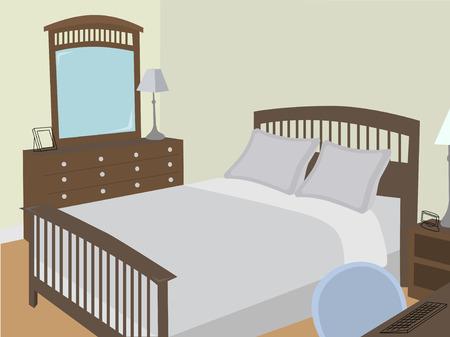 양식 된 물체가있는 각도의 침실