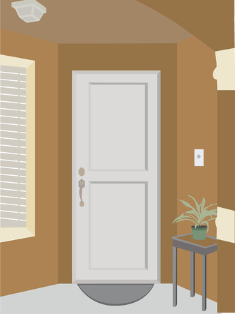 Angled doorway entrance into building with plant, mat and window Illustration