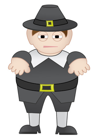 Short Fat Chubby Pilgrim man in outfit isolated