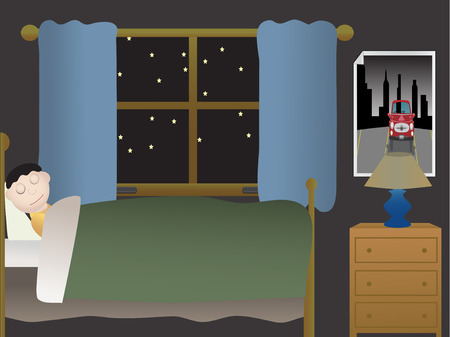 night view: Boy sleeping in bedroom at night near large window