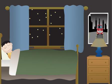 Garçon dormir dans la chambre à coucher la nuit près de grande fenêtre  Banque d'images - 3793065