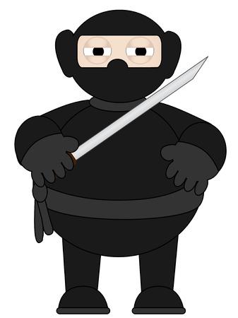 Cartoon Ninja with sword standing alone Vector