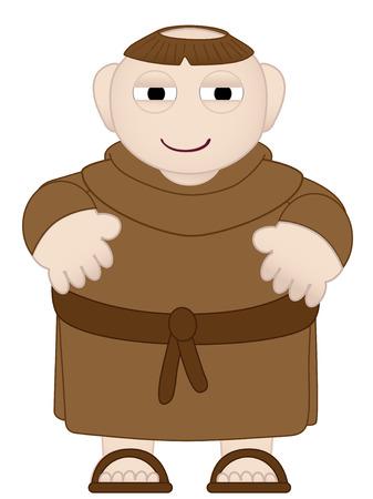 Tubby Monk in Brown Robes wearing sandles Vector