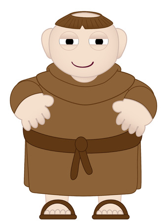 christian young: Tubby Monk in Brown Robes wearing sandles