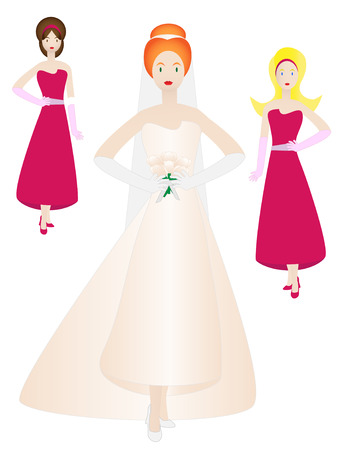 wedding dress: Bride and bridesmaids in pose