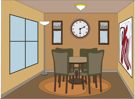 red rug: Casual dinning room with accent pieces Illustration