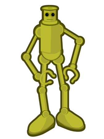 computerized: Copper Robot with big feet isolated