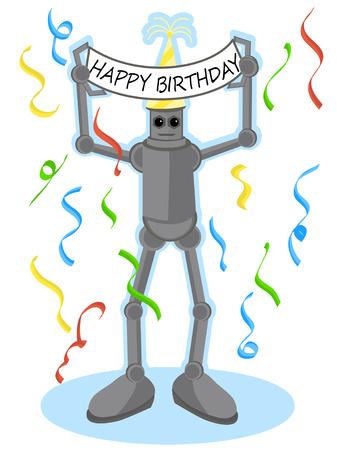 Robot holding Happy Birthday sign above his head Çizim
