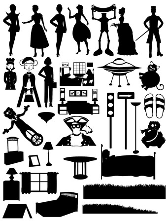 furniture: Collection of over 30 silhouetted people, places, and furniture