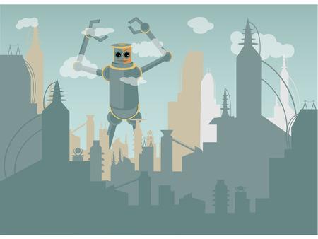 attacking: Robot gigante ataca la ciudad