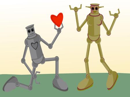 bosom: Male Robot giving his heart to Female Robot Illustration