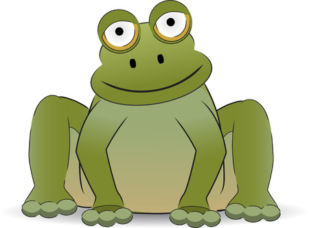 croaking: Stylized cartoon frog sitting with a smile Illustration