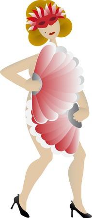 Weibliche Lüfter-Tänzerin isoliert auf weiß Standard-Bild - 4373751