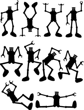 Silhouettes of Robots In Azione Archivio Fotografico - 4391649