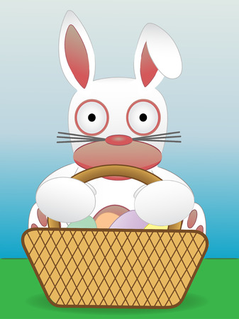 Easter Bunny Sitting With Basket of Eggs Иллюстрация