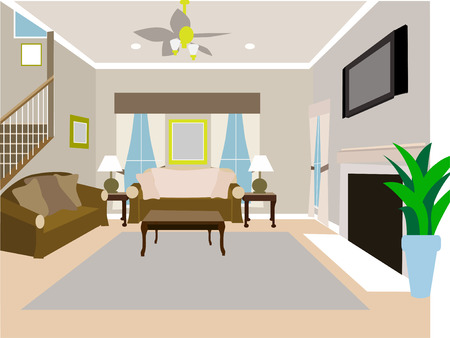 living room interior: Angled Modern Living room of two story house Illustration