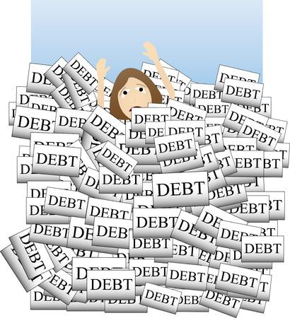 借金で溺れています。  イラスト・ベクター素材