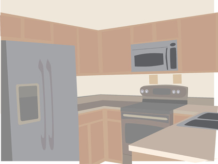 Modern Kitchen in neutral tones stylized angled 向量圖像
