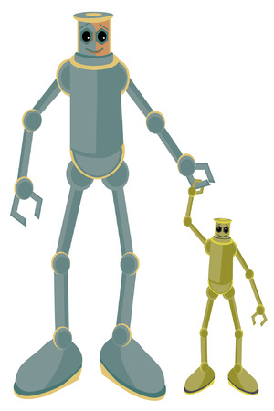 childern: Father and child robots holding hands Illustration