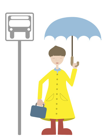 Young Man waiting for bus in rain coat