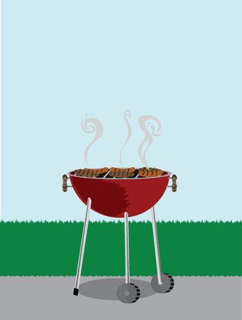 바베큐 그릴 바깥쪽에 요리 용 핫도그가 있습니다. 일러스트