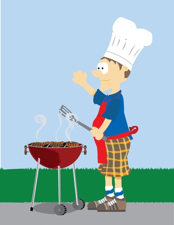 roasting: Cartoon Male dressed in grilling attire cooking meat outdoors