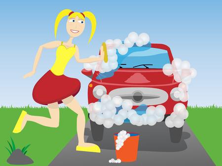 水および泡で覆われる車を洗浄している女性