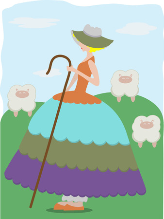 Little Bo Peep with sheeps Stock Vector - 5022558