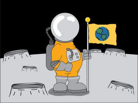 astronaut on the moon Stock Vector - 5045159