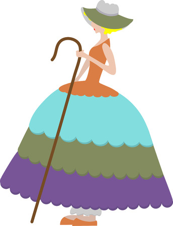 herder: Girl holding cane Isolated Illustration