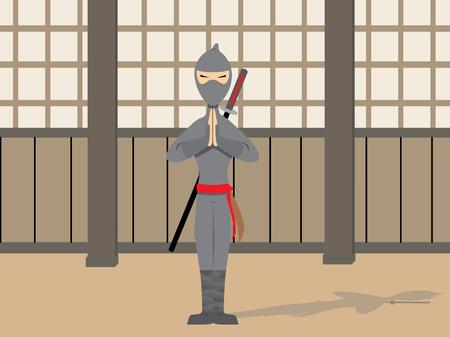 Ninja Posing in peaceful stance Vector