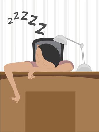 fainted: Man asleep at desk