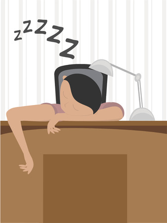 Man in slaap at desk