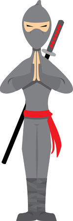 Ninja Posing isolated on white - Vector Vector