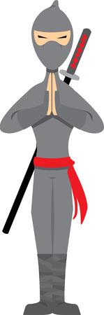 Ninja Posing isolated on white - Vector
