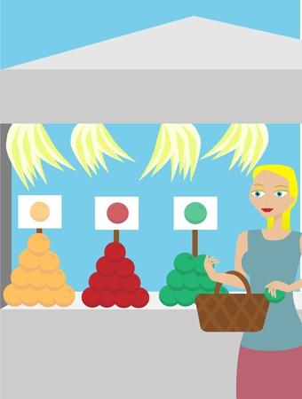 fruit: Farmers Market fresh fruit purchasing Illustration